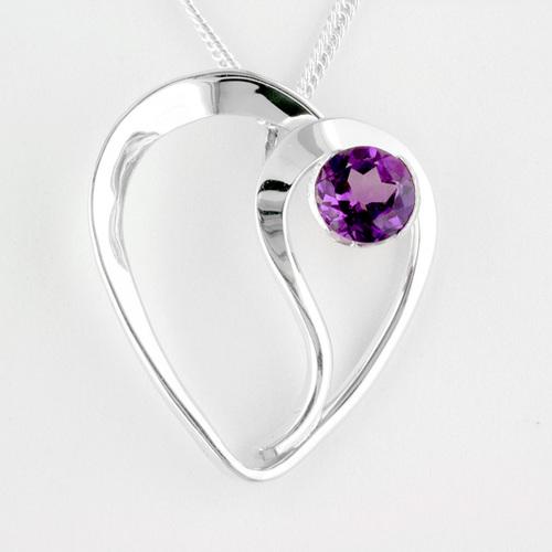 tom kruskal heart amethyst pendant